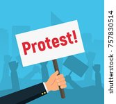 hand holding protest signs on... | Shutterstock .eps vector #757830514