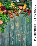 harvest fresh vegetables on old ... | Shutterstock . vector #757830970