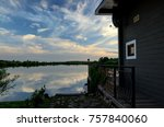 the house on the shore of a... | Shutterstock . vector #757840060
