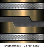 metal background  silver gold... | Shutterstock .eps vector #757845259