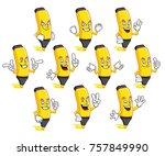 a set of highlighter character... | Shutterstock .eps vector #757849990