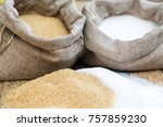 various types of sugar  brown... | Shutterstock . vector #757859230