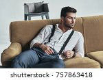 thinking about something... | Shutterstock . vector #757863418