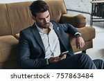 important message. handsome... | Shutterstock . vector #757863484