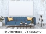 mock up poster frame in hipster ... | Shutterstock . vector #757866040