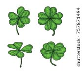 clover leaf hand drawing... | Shutterstock .eps vector #757871494