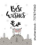 best wishes   hand drawn... | Shutterstock .eps vector #757874560