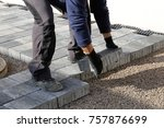construction worker laying... | Shutterstock . vector #757876699