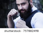 angry bearded businessman... | Shutterstock . vector #757882498