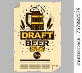 wooden mug of draft beer... | Shutterstock .eps vector #757882579
