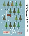 merry christmas greeting card.... | Shutterstock .eps vector #757883656