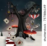 Stock photo wonderland series winter tree with mushrooms umbrella and playing cards d mixed media 757886149