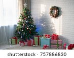 room with a decorated christmas ... | Shutterstock . vector #757886830