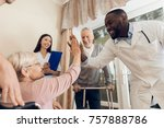 the doctor is talking to an... | Shutterstock . vector #757888786