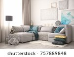 modern interior with... | Shutterstock . vector #757889848