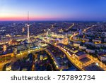 Stock photo berlin skyline city panorama with blue sky sunset and traffic famous landmark in berlin germany 757892734