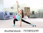 beautiful young woman doing... | Shutterstock . vector #757893199