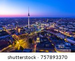 Stock photo berlin skyline city panorama with blue sky sunset and traffic famous landmark in berlin germany 757893370