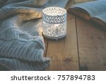 Lit Candle White Knitted...