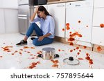 unhappy woman sitting on... | Shutterstock . vector #757895644