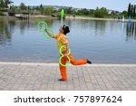 Circus juggler portrait. clown...