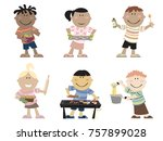 a group of cartoon children... | Shutterstock . vector #757899028