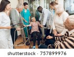 the doctor is talking to an... | Shutterstock . vector #757899976