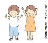 vector illustration of two kids ... | Shutterstock .eps vector #757911709