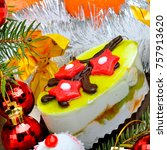 christmas delicious cake on... | Shutterstock . vector #757913620
