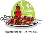 grilled meat | Shutterstock .eps vector #75791581