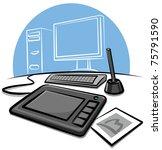 digital graphic tablet | Shutterstock .eps vector #75791590
