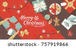 preparing for christmas  man... | Shutterstock .eps vector #757919866