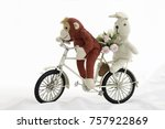 red monkey doll with white...   Shutterstock . vector #757922869