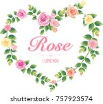 border of flowers in vintage... | Shutterstock .eps vector #757923574
