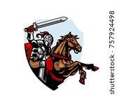 knight riding horse   Shutterstock .eps vector #757924498