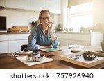 young female entrepreneur... | Shutterstock . vector #757926940