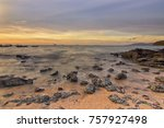 sunrise view by the rocky and... | Shutterstock . vector #757927498