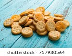 mini sandwich biscuits with... | Shutterstock . vector #757930564