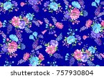 flower pattern with background   Shutterstock . vector #757930804