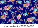 watercolor flower pattern navy ...   Shutterstock . vector #757934350
