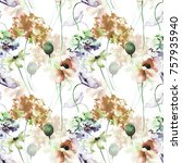seamless pattern with poppy and ... | Shutterstock . vector #757935940