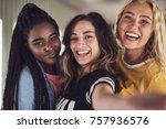 diverse group of laughing young ... | Shutterstock . vector #757936576