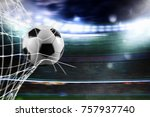 soccer ball scores a goal on... | Shutterstock . vector #757937740