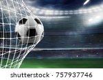 soccer ball scores a goal on...   Shutterstock . vector #757937746