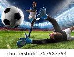 goalkeeper kicks the ball in... | Shutterstock . vector #757937794