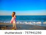 little beautiful girl in dress... | Shutterstock . vector #757941250
