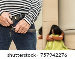 close up thief after raping... | Shutterstock . vector #757942276