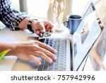 online payment concept   man's... | Shutterstock . vector #757942996