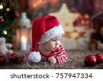 christmas portrait of cute... | Shutterstock . vector #757947334