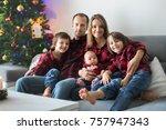 happy family portrait on... | Shutterstock . vector #757947343